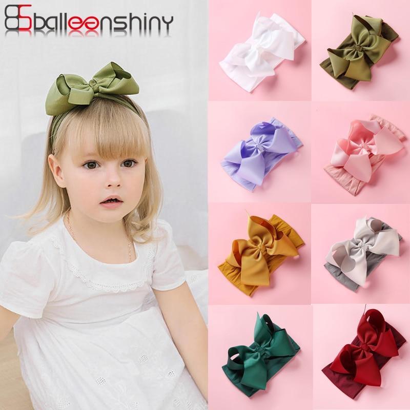 Balleenshiny DIY Nylon Baby Headband Large Size Ribbon Bow Children's Hair Accessories Colorful Princess Hair Band Headdress