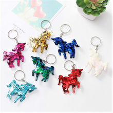1PCS Sequined Unicorn Sequins Key Chain Party Favors Gifts Family Friend Baby Souvenirs Birthday Valentines Day Gift Festive(China)
