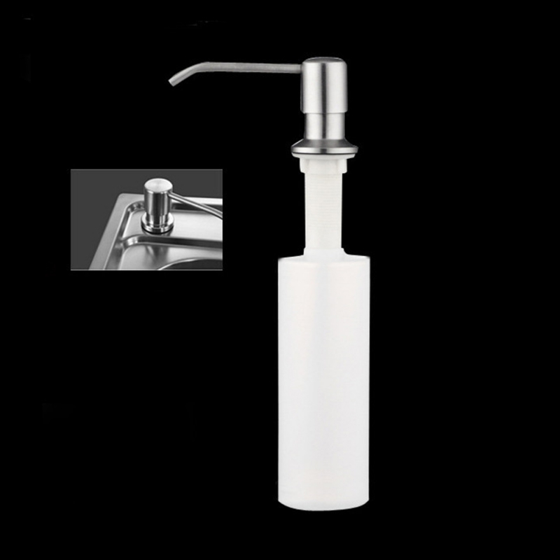 Kitchen Sink Hand Soap Dispenser Stainless Steel Liquid Soap Dispensers PP Plastic Bottle Easy To Fill Kitchen Accessorie