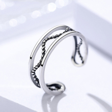 Authentic S925 sterling silver wave ring female Thai silver retro woven twist index finger opening jewelry
