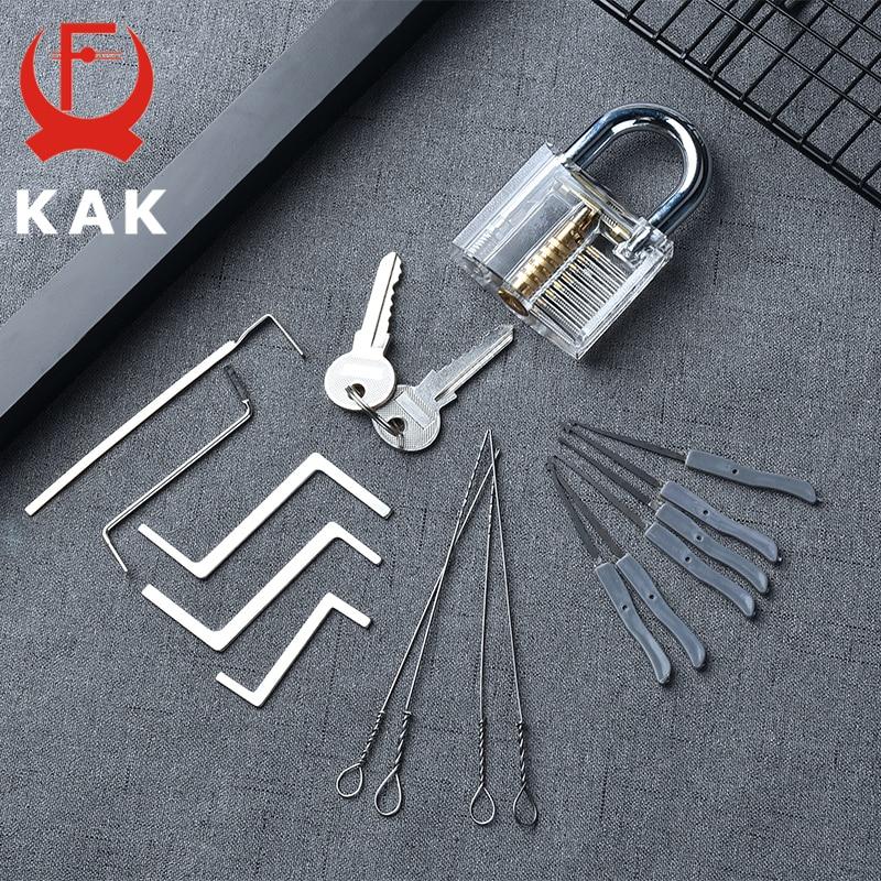KAK Practice Padlock With Keys Transparent Visible Lock Pick Broken Key Removing Hook Kit Extractor Set Locksmith Wrench Tool