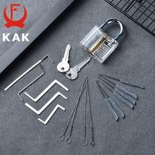 KAK тренировочный висячий замок с ключами прозрачный видимый замок Палочки сломанной для удаления ключа крюк комплект экстрактор комплект с...