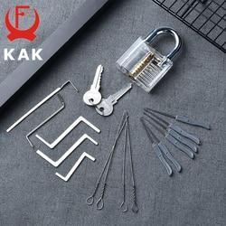 KAK Practice kłódka z kluczami przezroczysty widoczny wytrych do zamków złamany klucz demontaż zestawu haczyków zestaw wytrychów klucz ślusarski