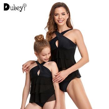 Rodzina pasujące stroje kąpielowe matka córka stroje kąpielowe czarne plażowe bikini letnie jednakowe stroje rodzinne tanie i dobre opinie Dubeyi CN (pochodzenie) Suknie Aktywny Bez rękawów Pasuje prawda na wymiar weź swój normalny rozmiar spandex Stałe