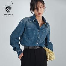 FANSILANEN Casual 100% cotton blue denim blouse shirt Women long sleeve spring button up shirt Female oversize pocket jeans top