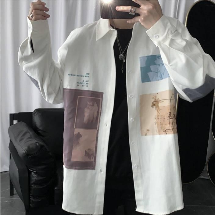 Spring Patchwork Cotton Shirts Men Casual Hip Hop Shirt Streetwear Long Sleeve Casual Slim Fit Shirts Fashion High Street Tops