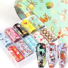 10 рулонов/коробка с рисунком бабочек и цветов для ногтей Обертывания