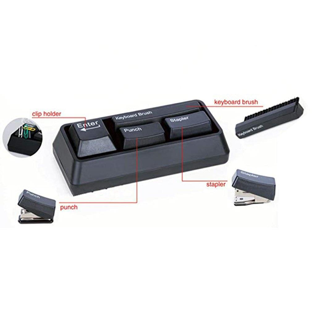 Black Keyboard Brush Mini Keyboard Style Stationery Set,Mini 4-In-1 Office Stationery Set With Clip Holder,Punch,Stapler