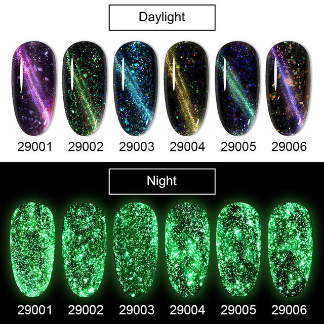 HNM 8ML Fluorescent 3D Cat Eye Gel Nail Polish UV LED Soak Off Fluorescent Varnish Primer Long Lasting Glow In Dark Gel Polish 4