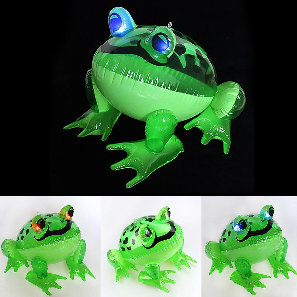 1 Pcs Kids Led Glowing Inflatable Frog Toy Shinning Eyes Cartoon Frog Model Children Toy Festival Party Decor
