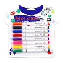 8pcs New Clothes Textile Markers Fabric Paint Pens DIY Crafts T-shirt Pigment Painting Pen Writing Liner Marker Pen Supplies