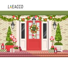Laeacco Christmas Backgrounds Candy Lollipops Tree Cartoon Rural House Gift Lantern Baby Child Portrait Photography Backdrops