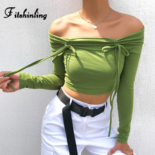 Fitshinling Bow Knot Off Shoulder Crop Top Green Slim Long Sleeve Female T-Shirt Cotton Streetwear Fashion T Shirt Women Clothes