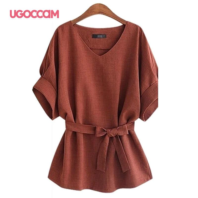 UGOCCAM 여름 여성 블라우스 섹시한 V 넥 플러스 사이즈 반소매 셔츠 루즈 블라우스 셔츠 플러스 사이즈 탑 블라우스 여성 의류