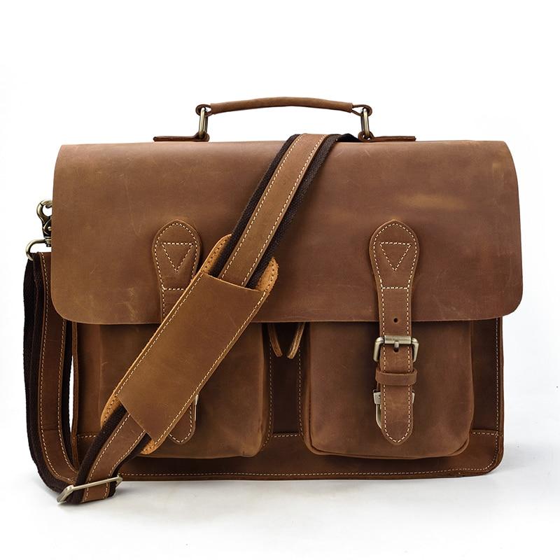 H663d144e69864bf8bffd2e0da550597ey MAHEU Luxury Fashion 100% Genuine Leather Men Briefcase Cow Leather Laptop Bag Vintage Shoulder Bag Real Cowhide Computer Bag