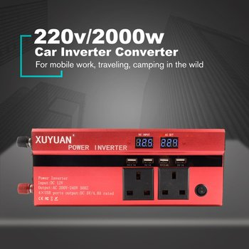 XUYUAN 2000W Car Power Inverter DC 12V To AC 220V Converter USB Charger Adapter Portable Auto Modified Save UK Plug 1500w dc 12v to ac 220v 50hz modified wave power inverter 5v usb port