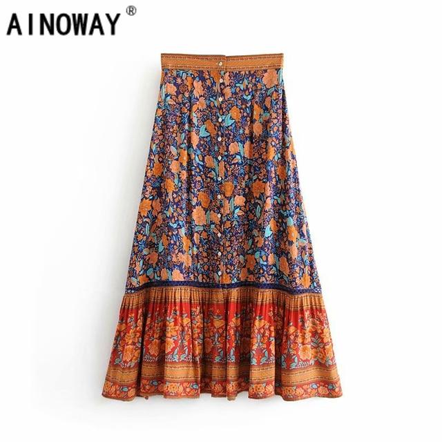 Vintage chique moda feminina hippie praia boêmio floral impressão single breasted saia de cintura alta midi a linha boho saia femme