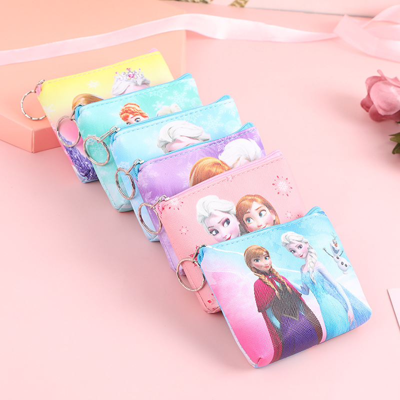 Disney Cartoon New Fashion Frozen Coin Purse Personalized Pu Leather Wallet Girl Doll Accessories Clutch Storage Bag
