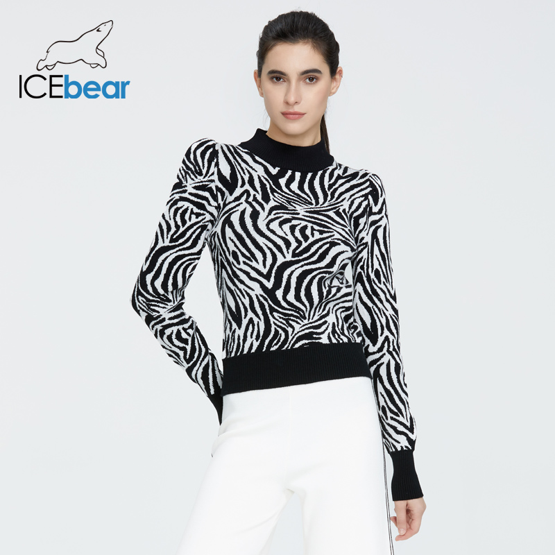 Icebear 2020 Spring New Undershirt Fashion European And American Style Women's Zebra Pattern Slim Sweater Sweater Shirt AW-003