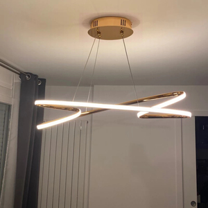 Image 1 - ניאו זהב בוהק מצופה כרום מודרני Led תליון אורות חדר אוכל מטבח חדר בר חנות תקרת מנורת 90 260V משלוח חינם