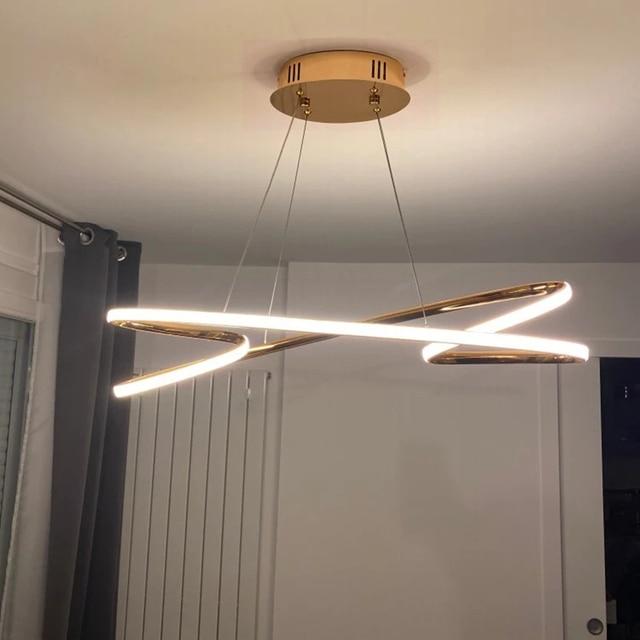 Neo Gleam Gold Chrome Plated Moderne Led Hanglampen Voor Eetkamer Keuken Kamer Bar Winkel Plafondlamp 90 260V Gratis Verzending