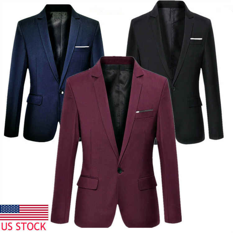 Pria Korea Slim Fit Katun Blazer Jas Hitam Biru Ukuran M-3XL Male Blazers Hot Sale