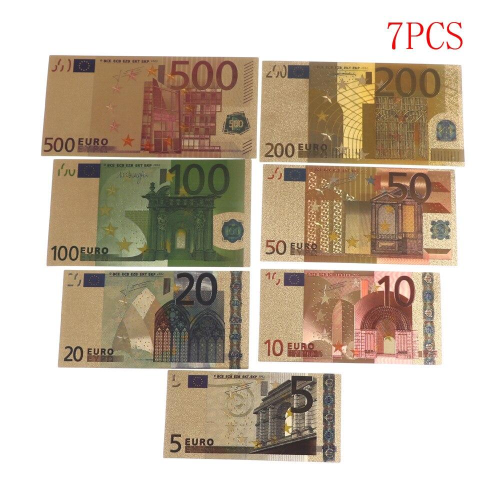 Notas comemorativas de Euro banhadas a ouro 24K, 7 peças, dinheiro falso, coleção, lembrança, alta qualidade, antiguidade, decoração banhada 5-500 dólares
