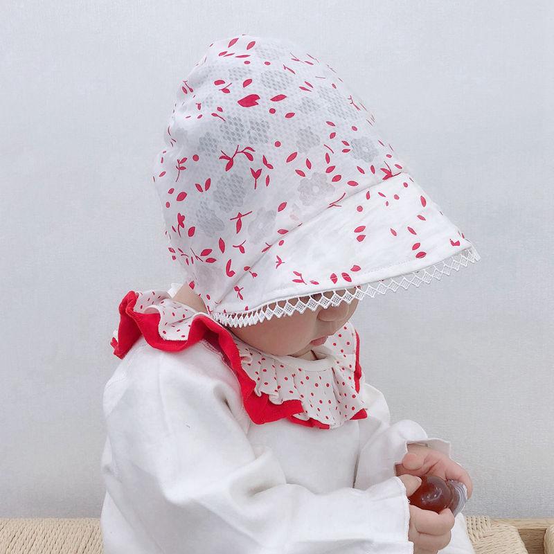 Anne ve Çocuk'ten Şapka ve Kapaklar'de Bebek kız yaz bonnet sevimli pamuk bebek şapka çocuklar bebek kız şapka prenses kap bebek yürümeye başlayan bebek kaput yaz güneş şapkası h193S title=