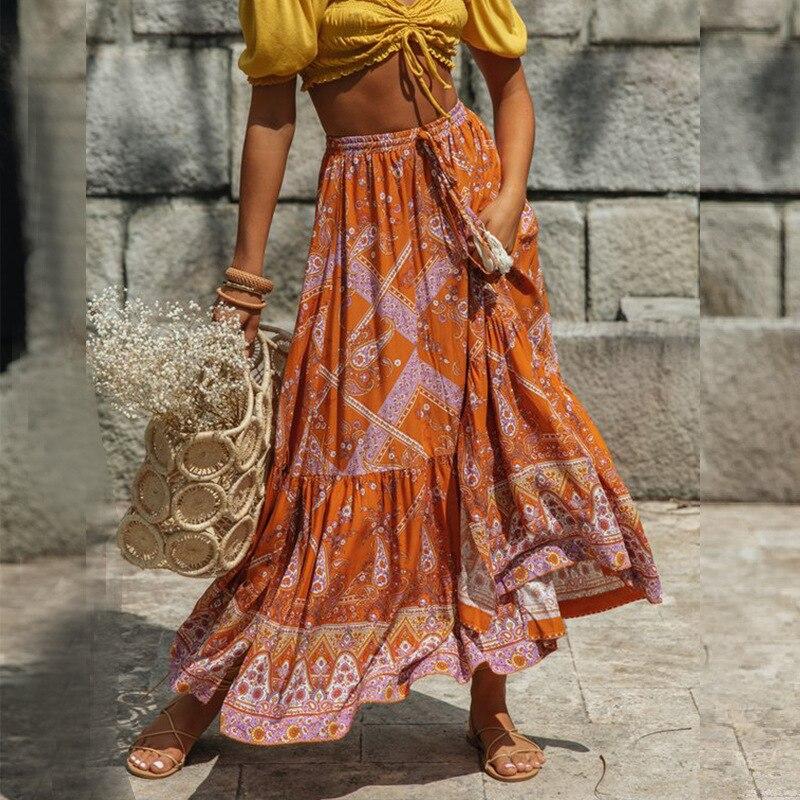Vintage Print Bohemian Skirts Womens 2020 Summer Holiday Beach Cotton Skirt Girls Big Swing A-line Boho Skirts