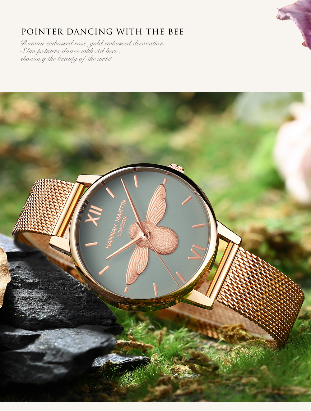 Rose Gold Bee Personality Design Ladies Watch 11