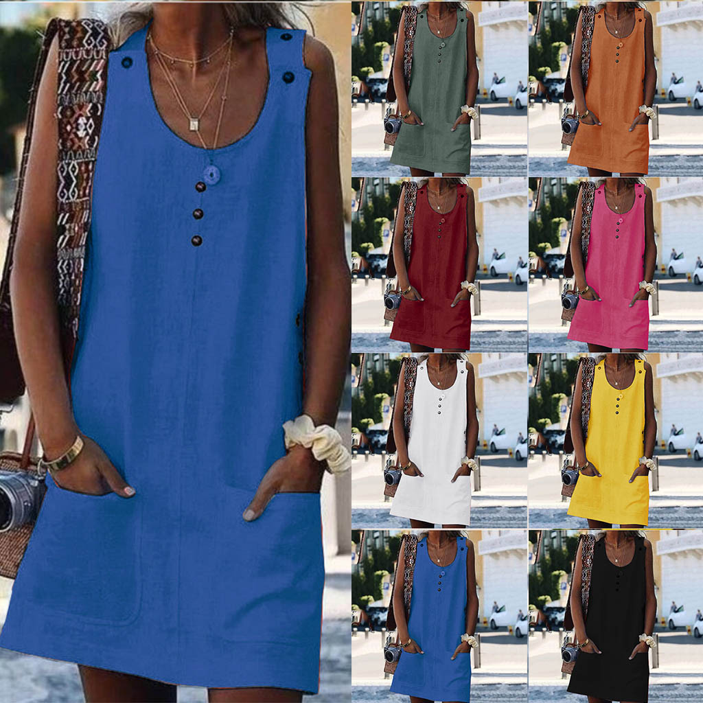 Women Letters Printing Tank Top Dress Short Sleeve O Neck Casual Dress