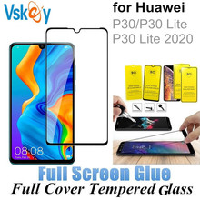 VSKEY 10PCS Full Glue Tempered Glass for Huawei P30 Lite 2020 Full Cover Screen Protector Huawei P30 Protective Film