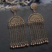 Crazy Feng Vintage Handmade Metal Long Tassel Drop Earrings for Women Bell Dangling Hanging Statement Gyspy Jewelry