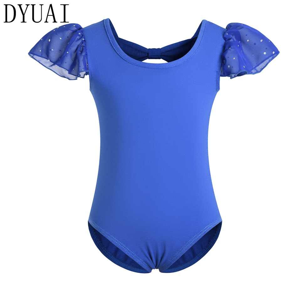 DYUAI Girls Ballet Dance Leotard with Ruffle Sequin Sleeve and Back Bowknot kids Gymnastics Short Sleeve Dance Wear