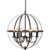 Vintage Style Iron LED Pendant Lights Rustic Metal Wood Texture Foyer/Restaurant/Corridor/Coffee Painted Globular Light Fixtures