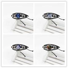 2019 new fashion jewelry wolf totem woven leather glass bracelet men