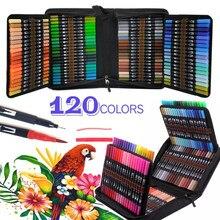 Canetas aquarela do mangá 12-120 cores, marcadores da arte da ponta do feltro do fineliner da escova, colorindo a pena para a cor esboçando do desenho da caligrafia
