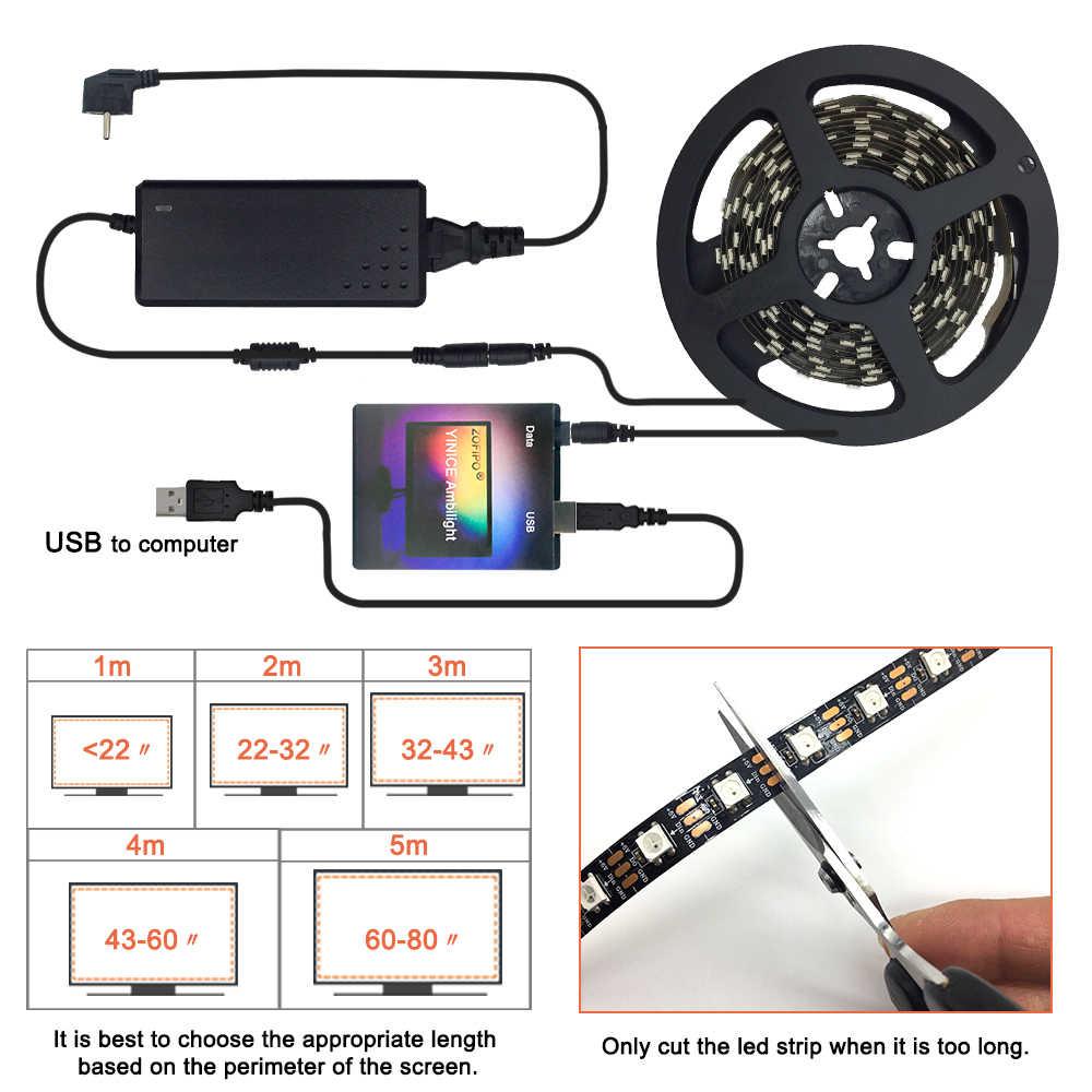 USB funkcji Ambilight taśmy LED lampa WS2812B DC5V elastyczne LED taśma oświetlająca wstążka 1M 2M 3M 4M 5M PC HDTV TV pulpit tła ekranu