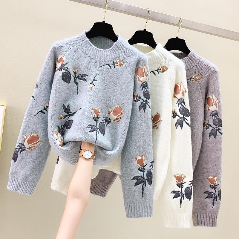 Вышитый пуловер свитер с рисунком женские 2020 осень-зима новая свободная верхняя одежда маленькая свежая вязаный женский свитер Топы
