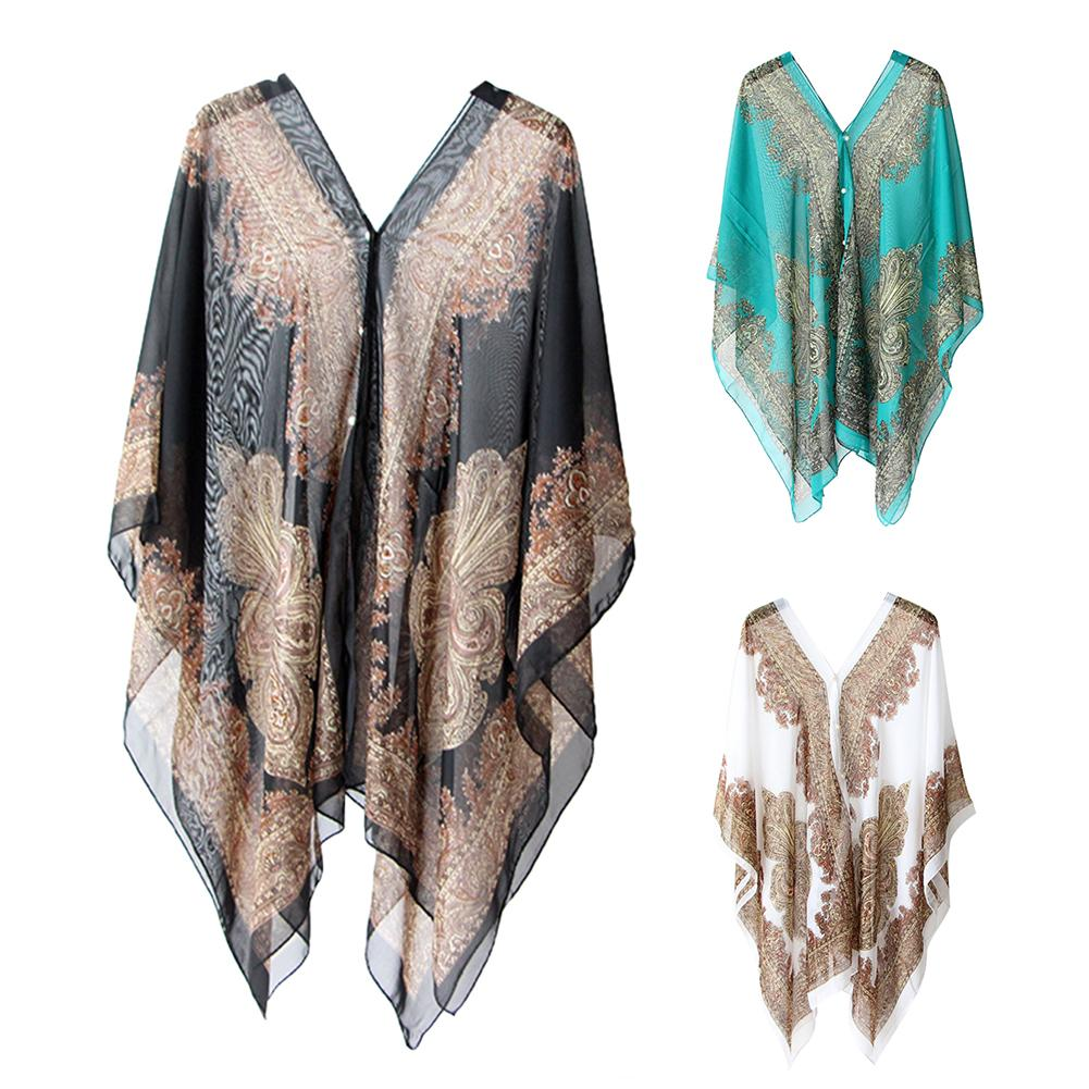 Women Summer Beach Bikini Cover Up Loose Chiffon Blouse Shawl Scarf With Button-s Suitable For Party Holiday Daily Wear