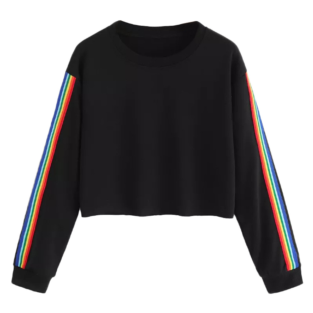 Jaycosin Fashion Womens Long Sleeve Rainbow Patchwork O Neck Sweatshirt Casual Chic Delicate Sport Jumper Hooded Pullover