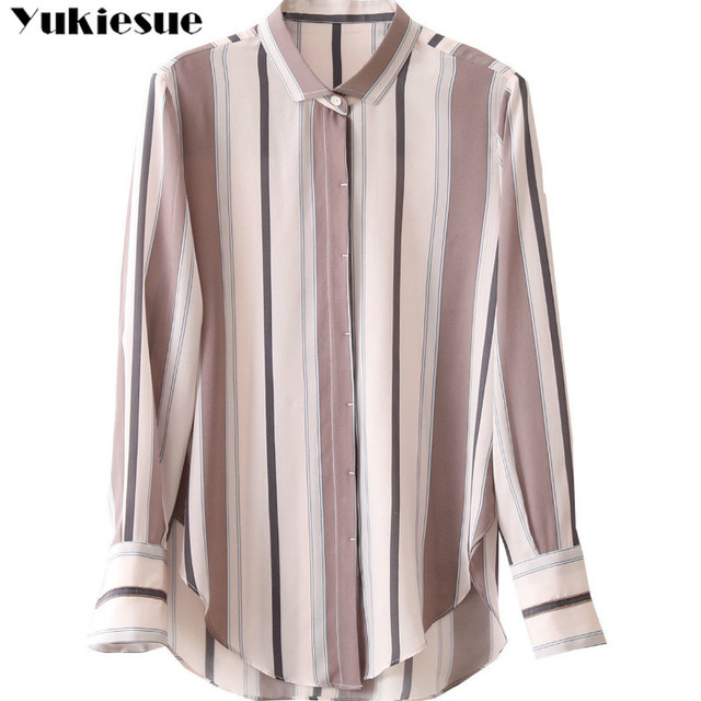 summer long sleeve striped women's shirt blouse for women blusas womens tops and blouses chiffon shirts ladie's top plus size 4
