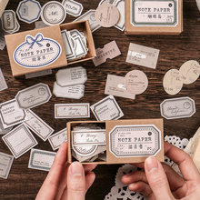 Yoofun 45pcs Boxed Vintage Memo Pad Creative Memo Label Mark Paper Stationery Decoration Office Supplies School Sticky Notes