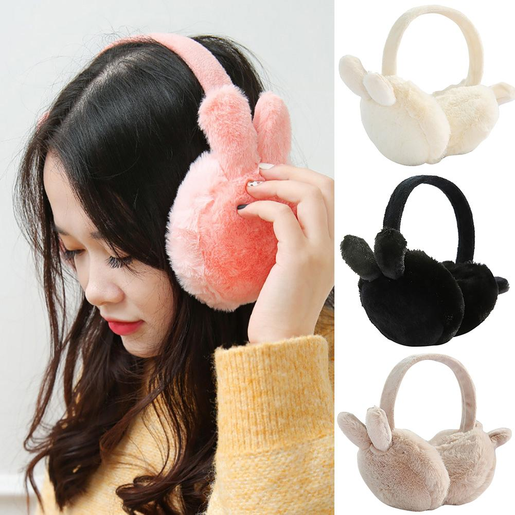 Fashion Lovely Winter Women Soft Warm Faux Fur Rabbit Ear Foldable Earmuff Warm Outdoor Streetwear Clothing Accessory