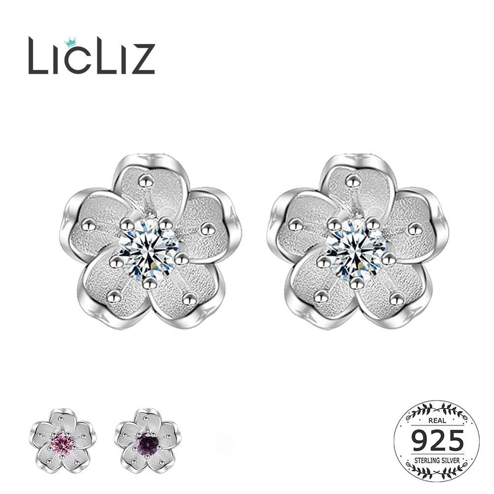 LicLiz 2019 New 925 Sterling Silver Cute Flower Stud Earrings for Women Clear&Pink&Purple CZ Crystal White Gold Jewelry LE0558