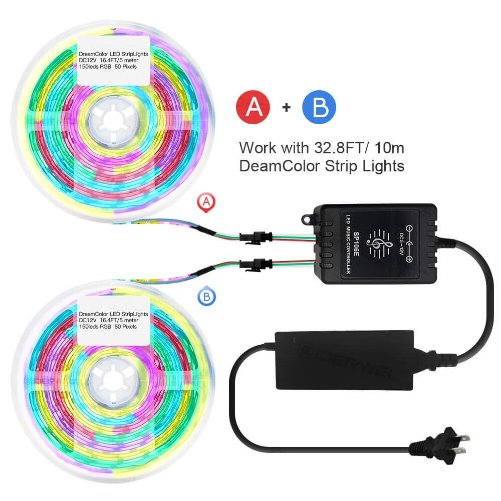 us $27 94 35% off dreamcolor rgb strip lights kit sync to music,32 8ft 10m addressable music strip lights with remote control for bar ktv jk1659 in 12v led circuit diagram dream color led wiring diagram #13