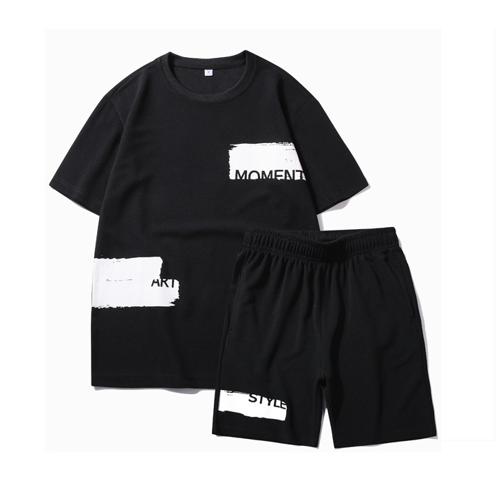 Mens Loose Sets 2020 New Trend Casual Tracksuit Men Hip Hop Two Piece Set Tee Shirt + Shorts Sport Suit Breathable Elastic Waist