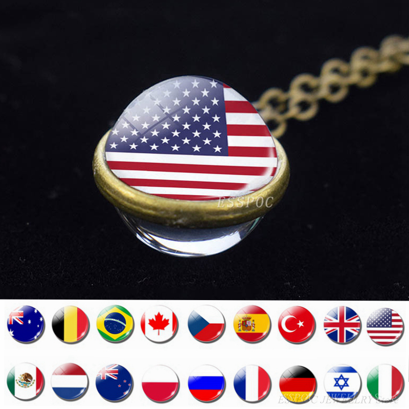 World Country Flags Ball Necklace National Flag USA UK Russia Spain Double Face Glass Jewelry Pendant Gifts Dropshipping