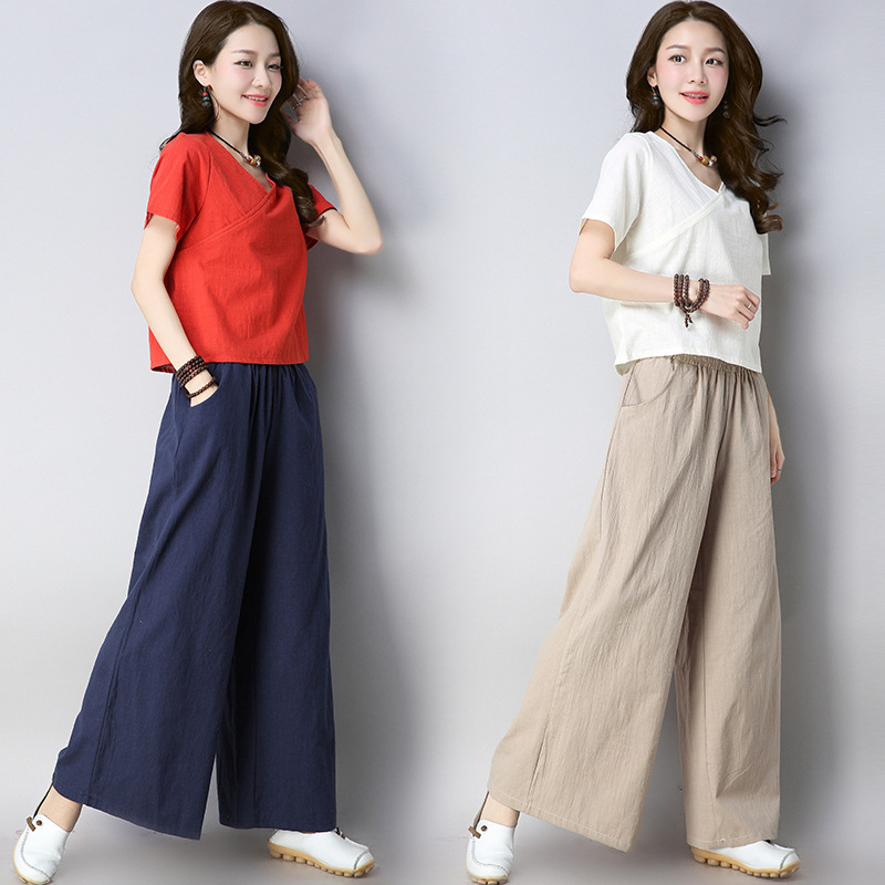 2019 Summer New Style Tea Service Yoga Suit Chinese-style Tops Women's Zen Clothing Women's Cotton Linen Solid Color Short Sleev