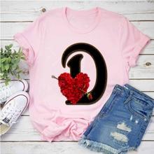 Letra vermelha da flor a b c d e f g roupas das senhoras roupas camiseta das senhoras